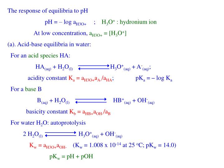 The response of equilibria to pH