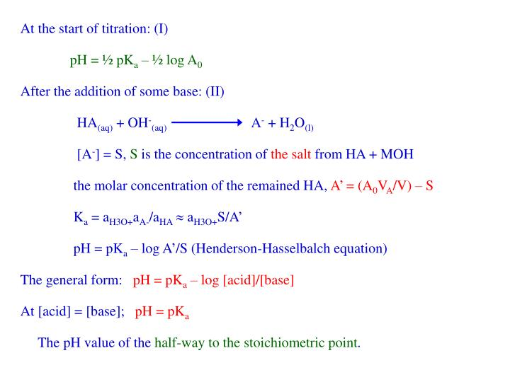 At the start of titration: (I)