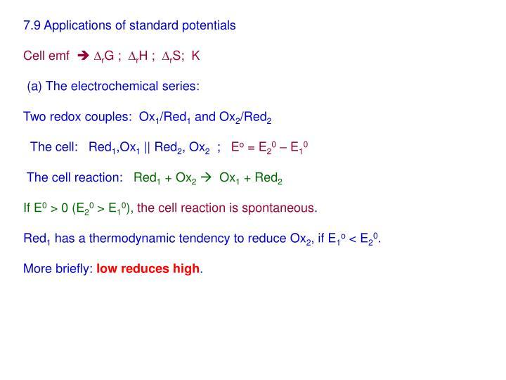 7.9 Applications of standard potentials