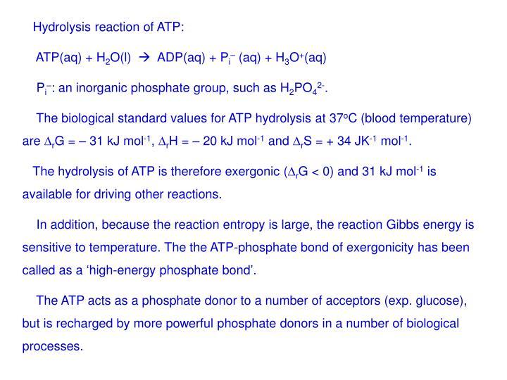 Hydrolysis reaction of ATP: