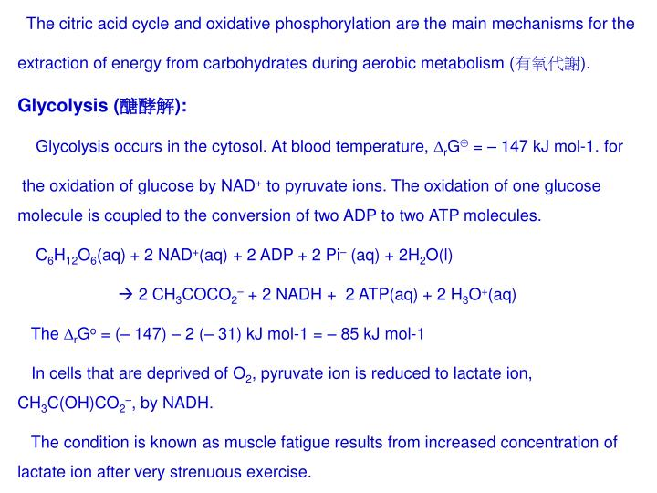 The citric acid cycle and oxidative phosphorylation are the main mechanisms for the