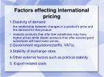 factors effecting international pricing