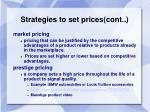 strategies to set prices cont