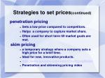 strategies to set prices continued