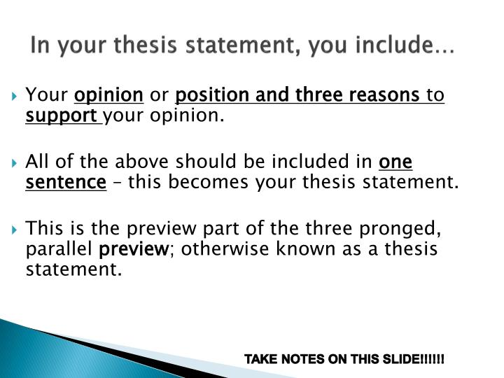 what must a thesis statement include