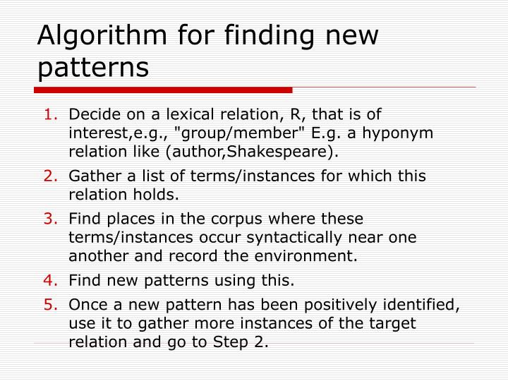 Algorithm for finding new patterns
