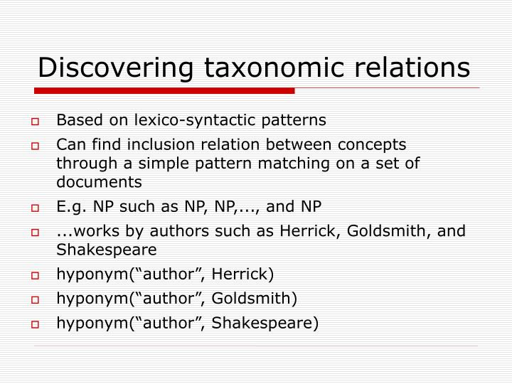 Discovering taxonomic relations