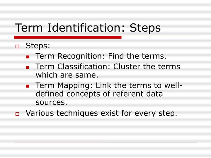 Term Identification: Steps