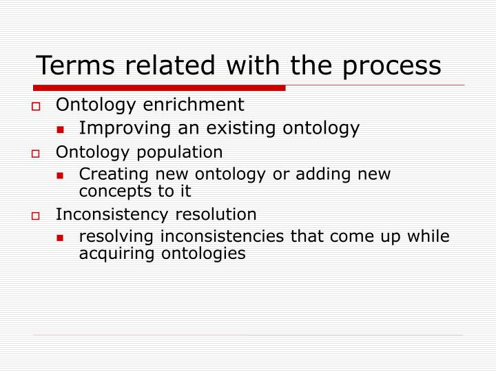 Terms related with the process