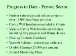 progress to date private sector