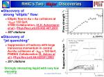 rhic s two major discoveries