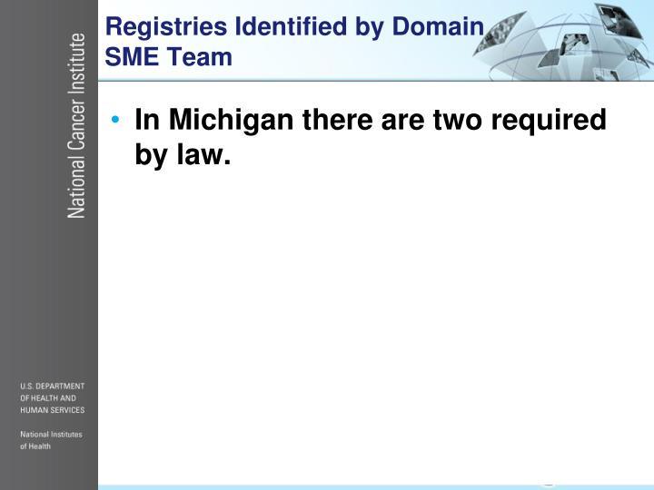 Registries Identified by Domain SME Team