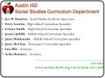 austin isd social studies curriculum department