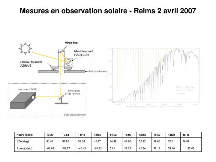 Mesures en observation solaire - Reims 2 avril 2007