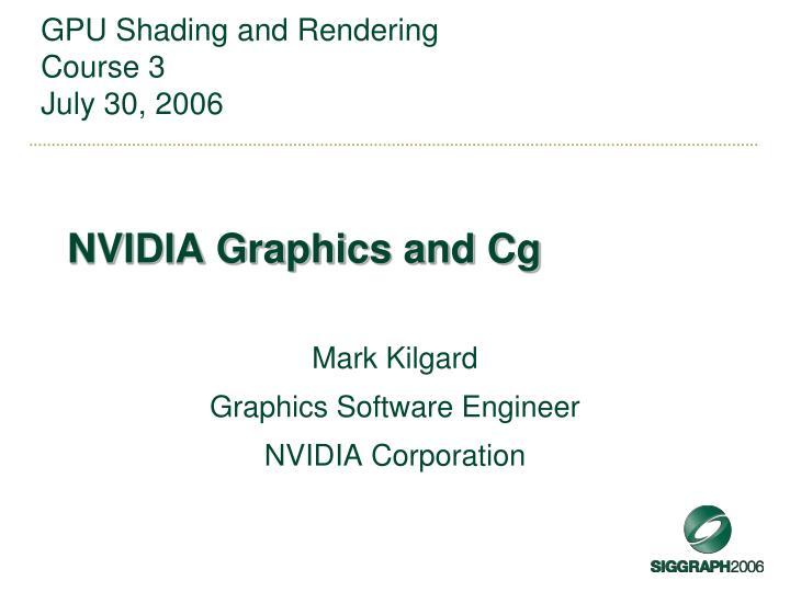 Nvidia graphics and cg