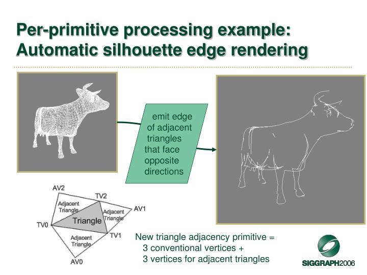 Per-primitive processing example: