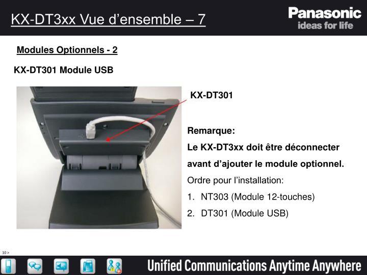 KX-DT3xx Vue d'ensemble – 7