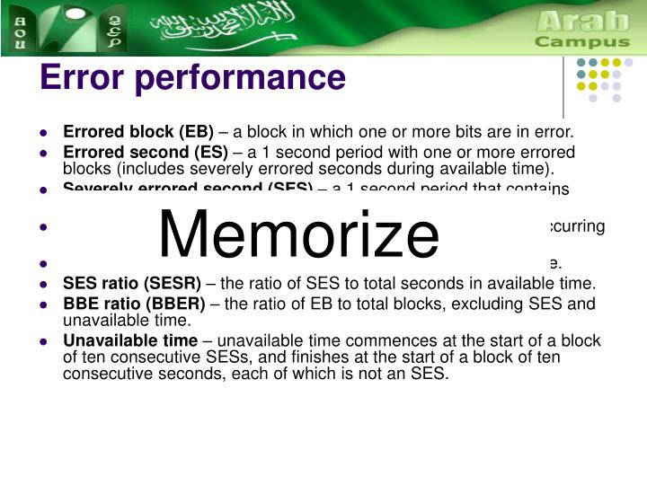 Error performance