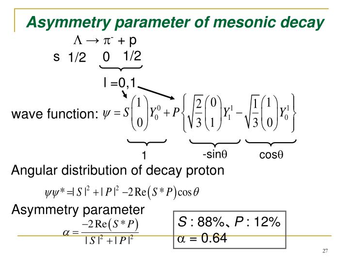 Asymmetry parameter of mesonic decay