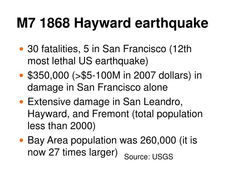 M7 1868 Hayward earthquake