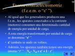 fuerza contraelectromotriz f c e m o