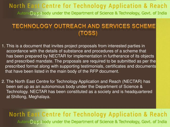 TECHNOLOGY OUTREACH AND SERVICES SCHEME