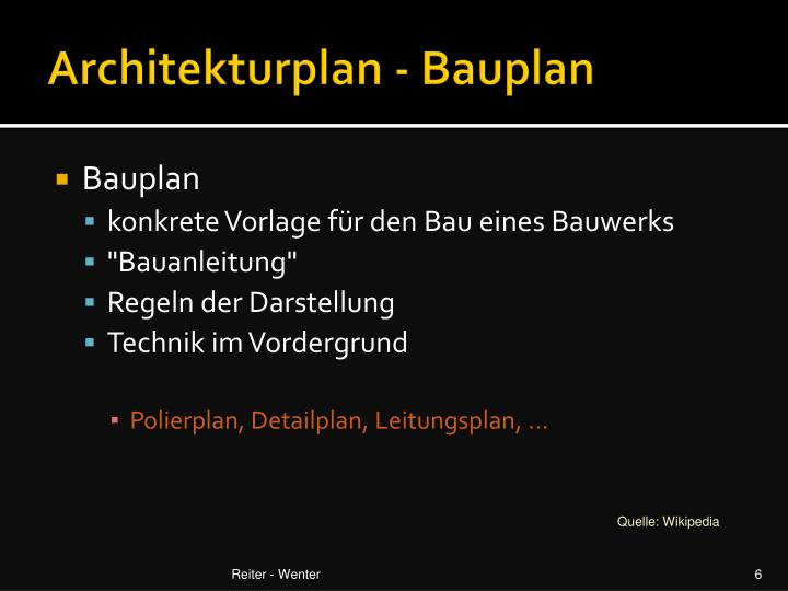 Architekturplan - Bauplan