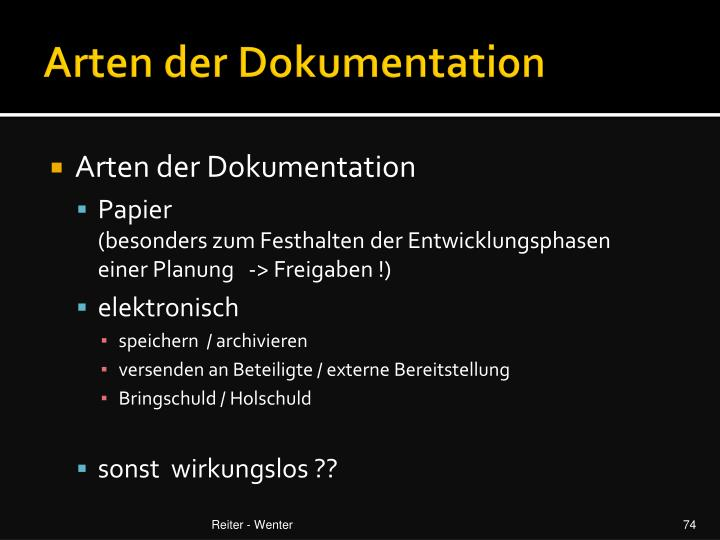 Arten der Dokumentation
