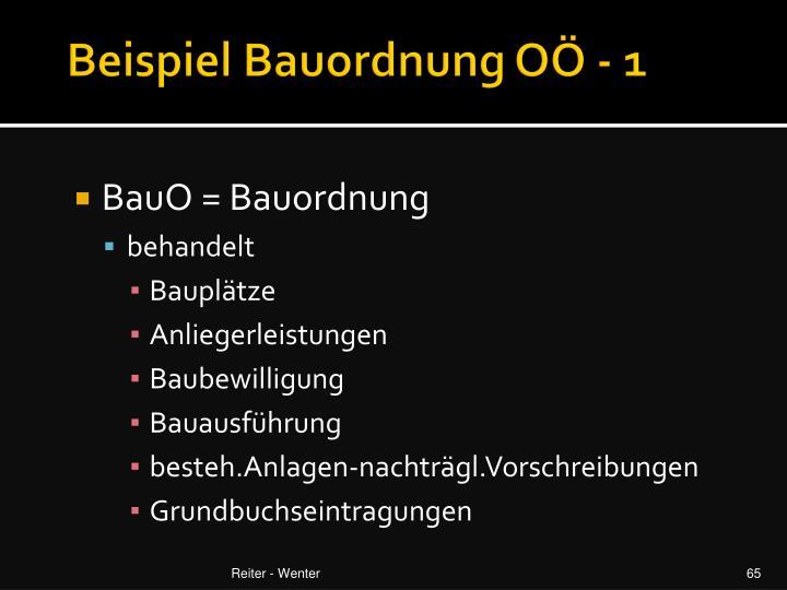 Beispiel Bauordnung OÖ - 1