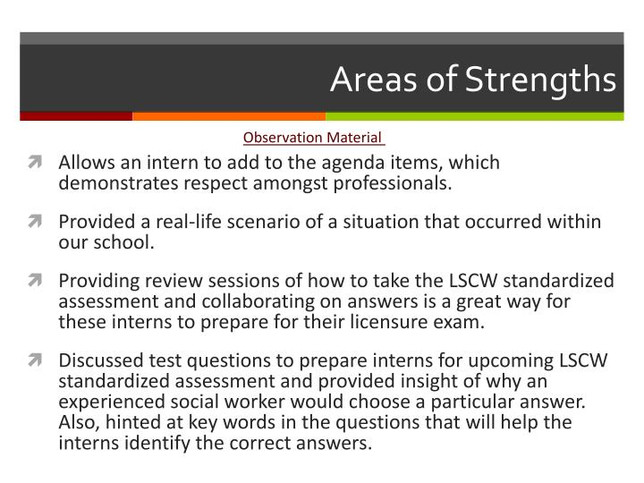 Areas of Strengths