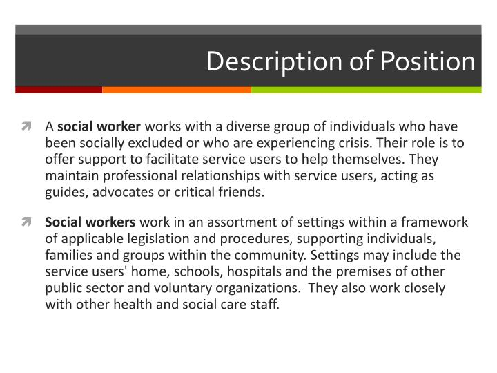Description of position