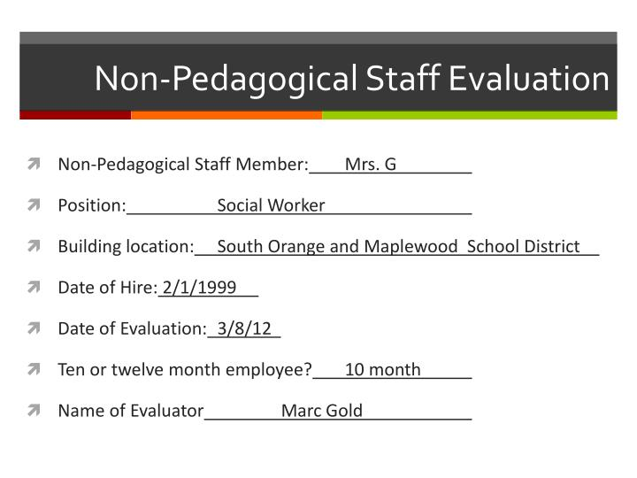 Non pedagogical staff evaluation1