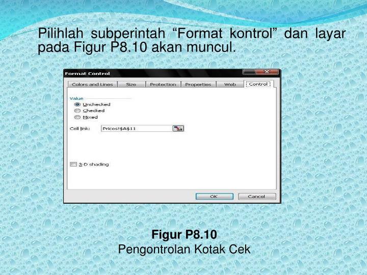 """Pilihlah subperintah """"Format kontrol"""" dan layar pada Figur P8.10 akan muncul."""