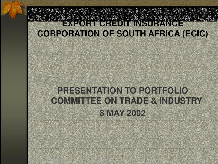 Export credit insurance corporation of south africa ecic