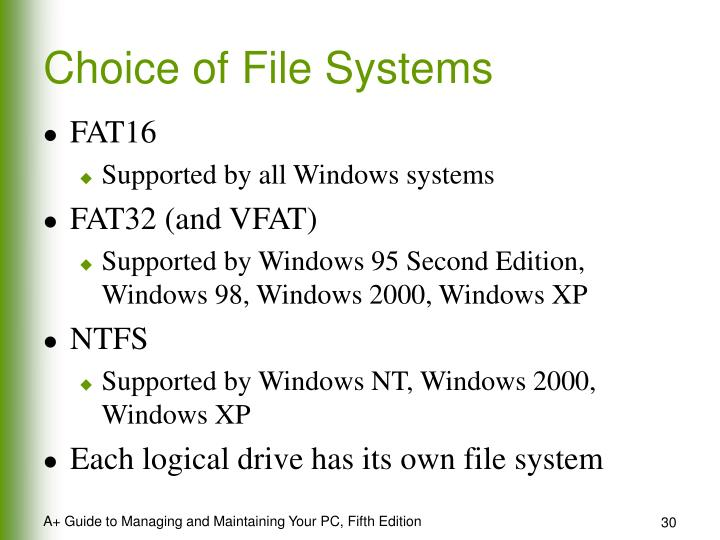 Choice of File Systems