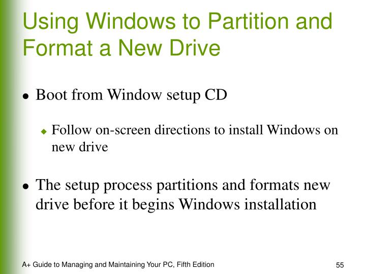 Using Windows to Partition and Format a New Drive