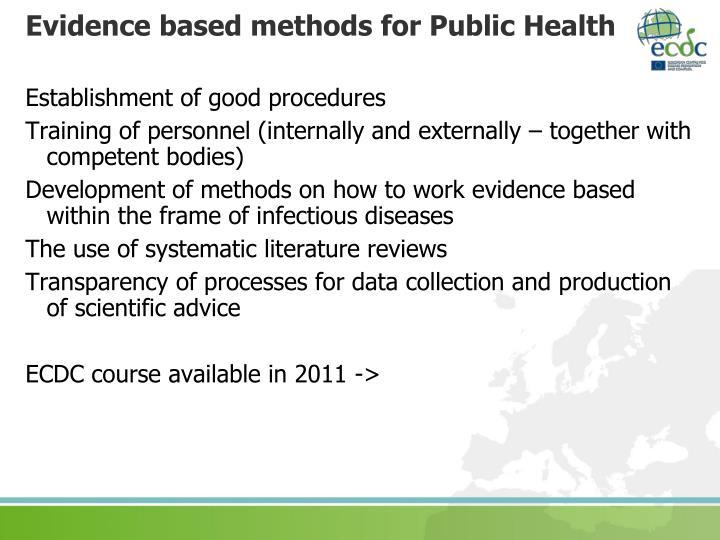 Evidence based methods for Public Health
