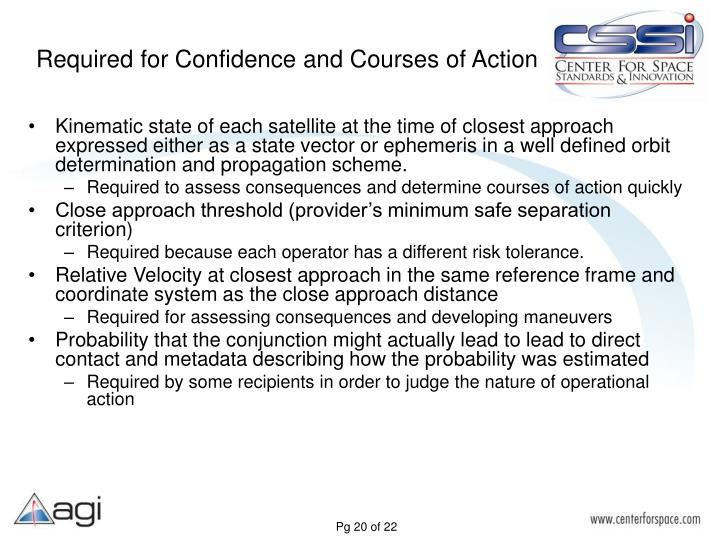 Required for Confidence and Courses of Action