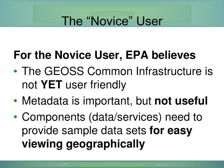 "The ""Novice"" User"