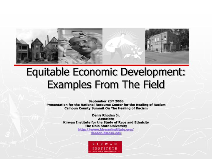 equitable economic development examples from the field n.