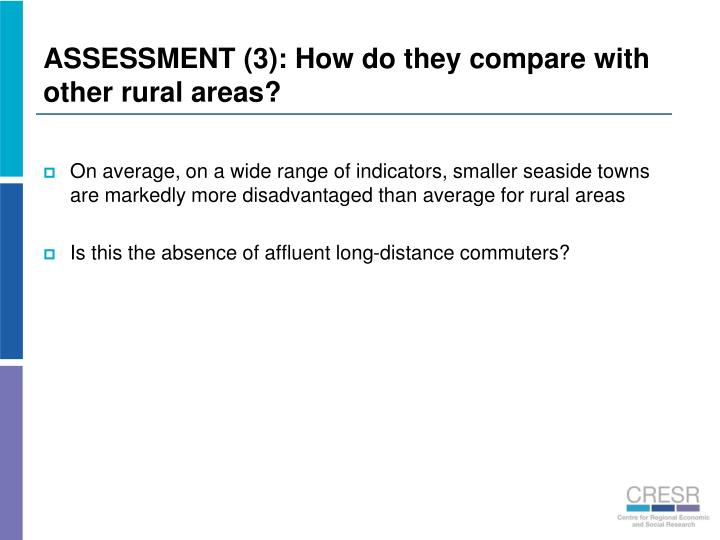 ASSESSMENT (3): How do they compare with other rural areas?