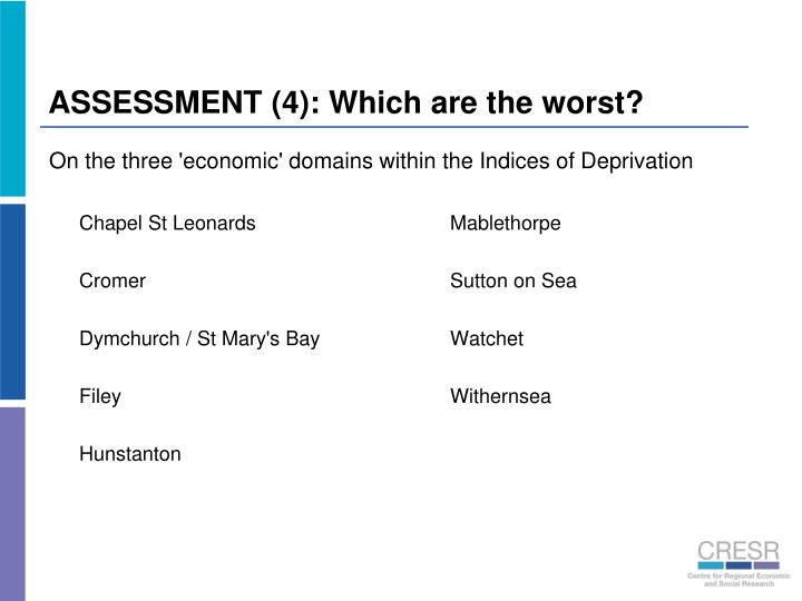 ASSESSMENT (4): Which are the worst?