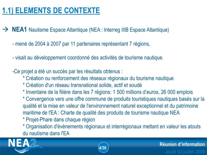 1.1) ELEMENTS DE CONTEXTE