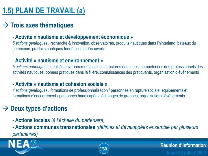 1.5) PLAN DE TRAVAIL (a)