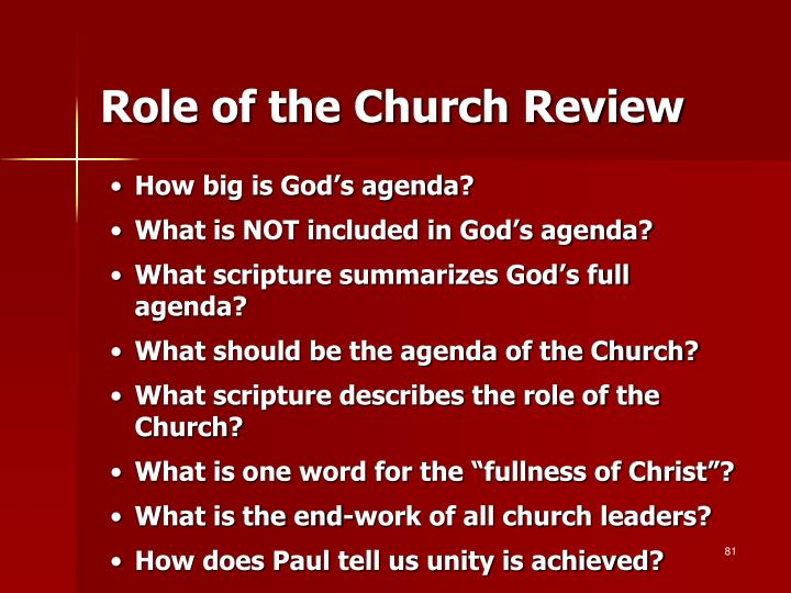 Role of the Church Review