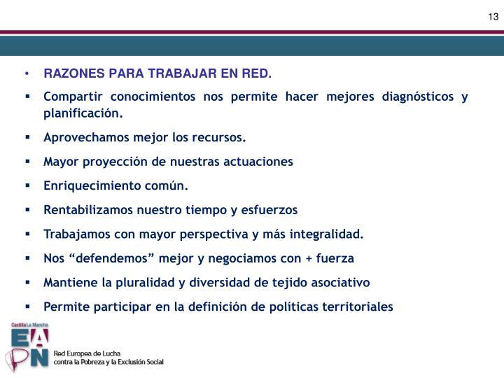 RAZONES PARA TRABAJAR EN RED.