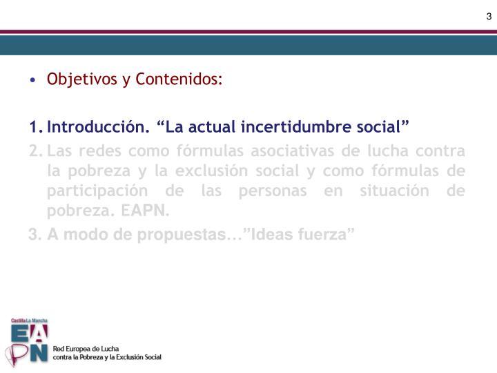 Objetivos y Contenidos: