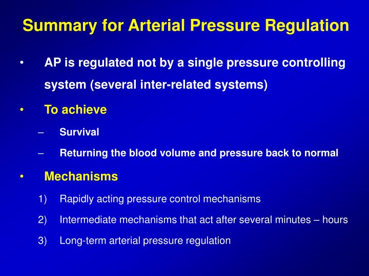 Summary for Arterial Pressure Regulation