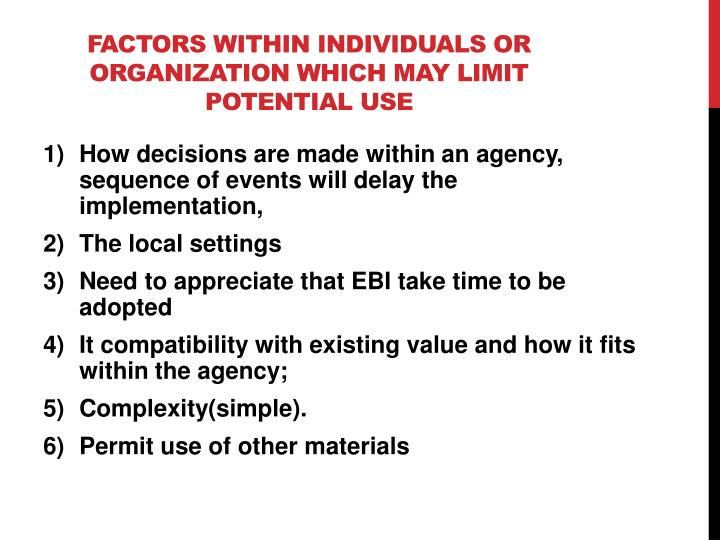 Factors within individuals or
