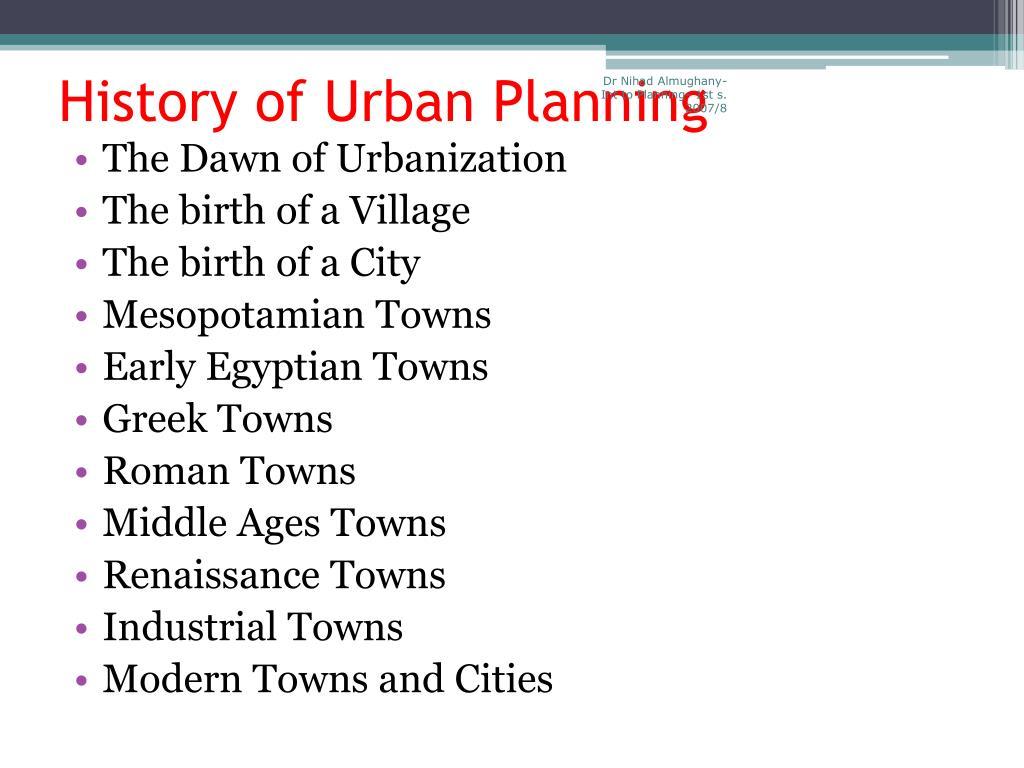 History Of Urban Planning